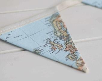 Little Explorer World Map Nursery Bunting