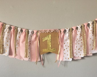 Pink and gold Birthday banner, one banner, pink highchair banner first birthday, princess, smash cake, twinkle little star, confetti gold