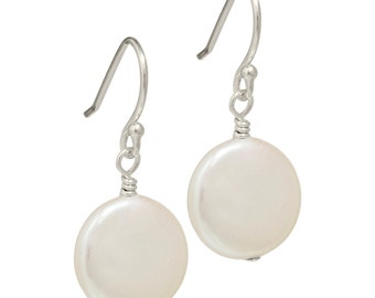 coin pearl earrings | cream pearls | AA quality | sterling silver wires
