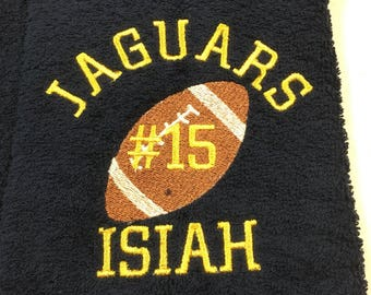 Football towels, personalized gift, football towel, sport towel, team orders will ship 3 day priority mail