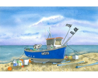 Aldeburgh Beach Boat Seaside Limited Edition Giclee Print Coastal Painting