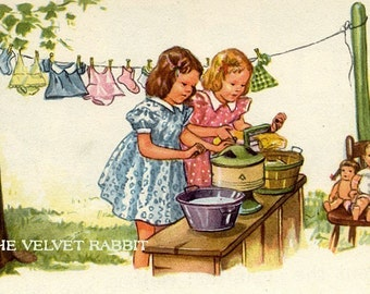 Fabric blocks(4) Little girls doing the washing.  Just darling.
