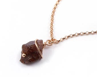 14K Rose Gold Filled Necklace with Rough Garnet - Irregular Shape Raw Garnet - Natural Stone Necklace - Dark Red Gemstone