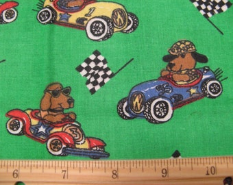 Fat Quarter Children's Novelty Fabric - Dogs in Racecars and Checkered Flags Allover on Green - Haber Fabrics - OOP