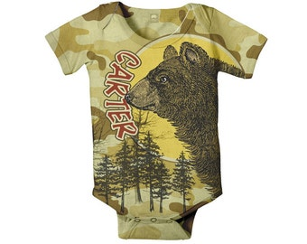 Camouflage Baby Boy Bodysuit, Personalized Bear Woodsy Custom Onepiece Snapshirt, Baby Boy Clothing