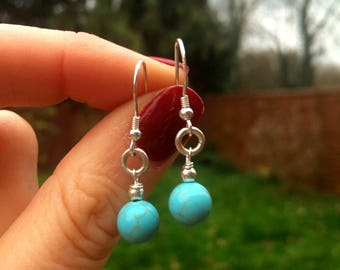 Small Turquoise gemstone earrings - Sterling Silver - December Birthstone jewelry gift