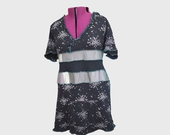 Summer Plus Sized Dress XXL/3X Black and White with Hood/ Tunic Recycled Sassy