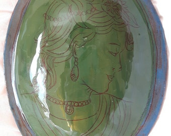 Green & blue hand engraved lady cameo portrait, ceramic wall piece, glazed