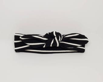 Knotted Headband- Black & White Stripes - 0-3 MONTHS