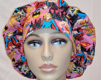 Wonder woman super girl super hero bouffont scrub hat, ribbon