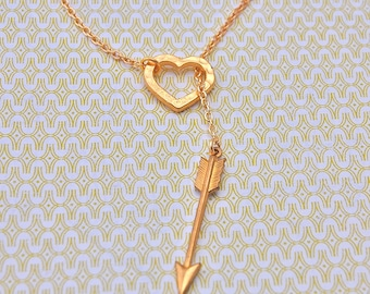 Arrow Necklace and Heart Lariat Brass Charms Hearts and Arrows Western Love Bridesmaids Gifts Wedding Jewelry Gold