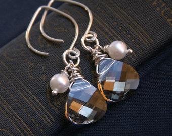 Crystal teardrop bridesmaid earrings, teardrop earrings, Swarovski Crystal earrings, freshwater pearls sterling silver earrings custom color