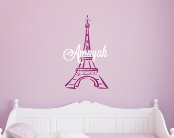 Eiffel Tower Vinyl Wall Decal - Personalized Name Wall Decal - Vinyl Lettering - Teen Decor - Girls Room Decor