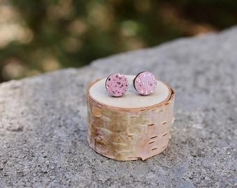 Wood Circle Earrings // Geometric Millennial Pink Sparkle Studs // Galaxy Wood Earrings // Circle Earrings // Glitter Studs // Minimal