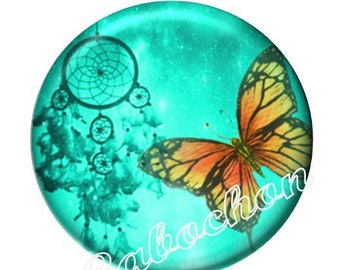 2 illustrated cabochon 16mm domed glass cabochon image dreamcatcher dream catcher Native American Butterfly