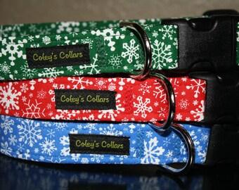 "Dog Collar, Dog Collars, Boy Dog Collar, Girl Dog Collar, Winter Dog Collar, Christmas Dog Collar,  ""Winter Wonderland Collection"""