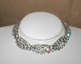 Vintage 1950's Rhinestone Choker Necklace