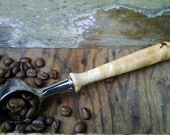 Maple Wood and Chrome Coffee Scoop with Hand Turned Wood Handle - Wood Coffee Scoop - Wood Loose-Leaf Tea Scoop - Gift Idea