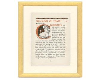 Pool of Tears, Alice in Wonderland Chapter 2, Vintage Print 1922,  Color/Black White Gwynedd Hudson, Kids Bedroom Decor, Kids Vintage Art