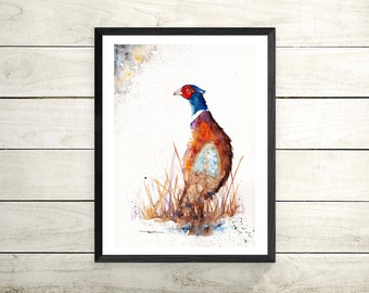 Pheasant ,Original Watercolour Painting ,Illustration,Nursery,Print ,Card, Gift, Frame, Art, Wildlife, Bird, UK Free Postage