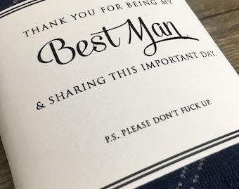 "Funny Best Man Groomsmen ""PS. Don't Mess Up"" Black & White Wedding Sock Labels"