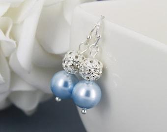 Bridesmaid Gift Light Blue Swarovski Earring Dangle Earrings Pearl Earrings Rhinestones Earrings Blue Earrings Gift for Mother