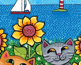 Cats sunflowers sailboats lighthouse - Nova Scotia Shelagh Duffett Print