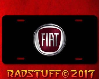"Fiat Emblem on Black Background Novelty License Plate 6""x12"""