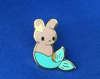 Mermaid Moon Bun Enamel Pin - Amigurumi Mermaid Bunny Rabbit Badge