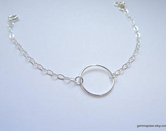 Sterling silver circle bracelet, Eternity bracelet, Circle bracelet, Eternity jewelry, Bridesmaid bracelet, Bridesmaid jewelry
