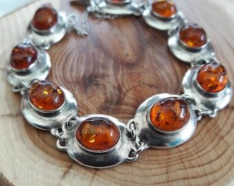amber  bracelet set in 925 silver . beautiful authentic honey amber bracelet vintage jewellery sterling silver