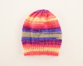 Knitted baby hat / For 6 months to 1 year old / Vibrant striped pattern