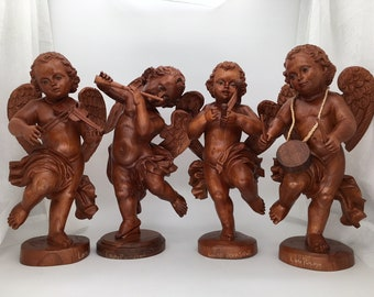 Set of 4, Tall 17 inches, Cherub Angels, Cupid, Musical, Natural Wood, Hand Carved, Ecuador