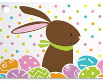 Chocolate Bunny Blank Note Card, Easter Bunny Note Card for Gifts, Cute Bunny Card, Bunny and Easter Egg Card, Sunny Bunny Gardens