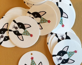 Birthday party boston terrier gift tags, dog lover, party tags, notecards, greeting cards, party hat, favor tags, thank you