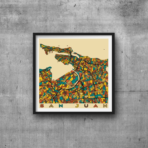 SAN JUAN City Map Puerto Rico Giclee Fine Art Print Abstract