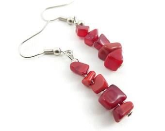 Red Bead Earrings, Dangles, Hooks, STJ118