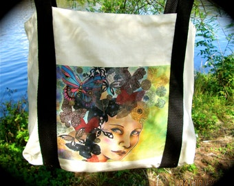 Woman's tote, shopping tote, market tote, beach tote, all purpose tote with retro image of woman in white canvas with black web straps,
