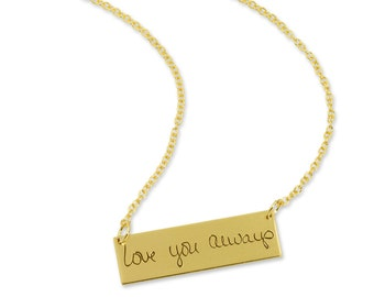 Custom Personalized Writing Necklace - Gold Filled Rectangle Bar Necklace - Signature Necklace - Memorial Gift - 15 Letters