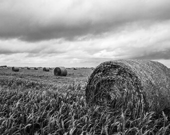 Hay Bale Photography Print - Nostalgic Picture in Black and White of Round Bale in Kansas Field Farming Home Decor Old Landscape Art Photo