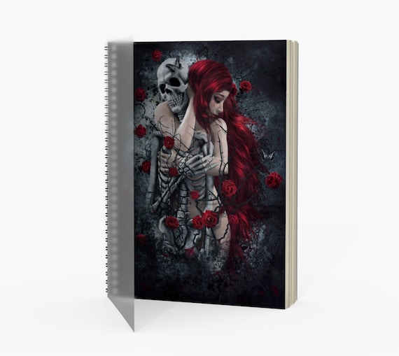 Gothic skull and roses fantasy art notebook with spiral binding