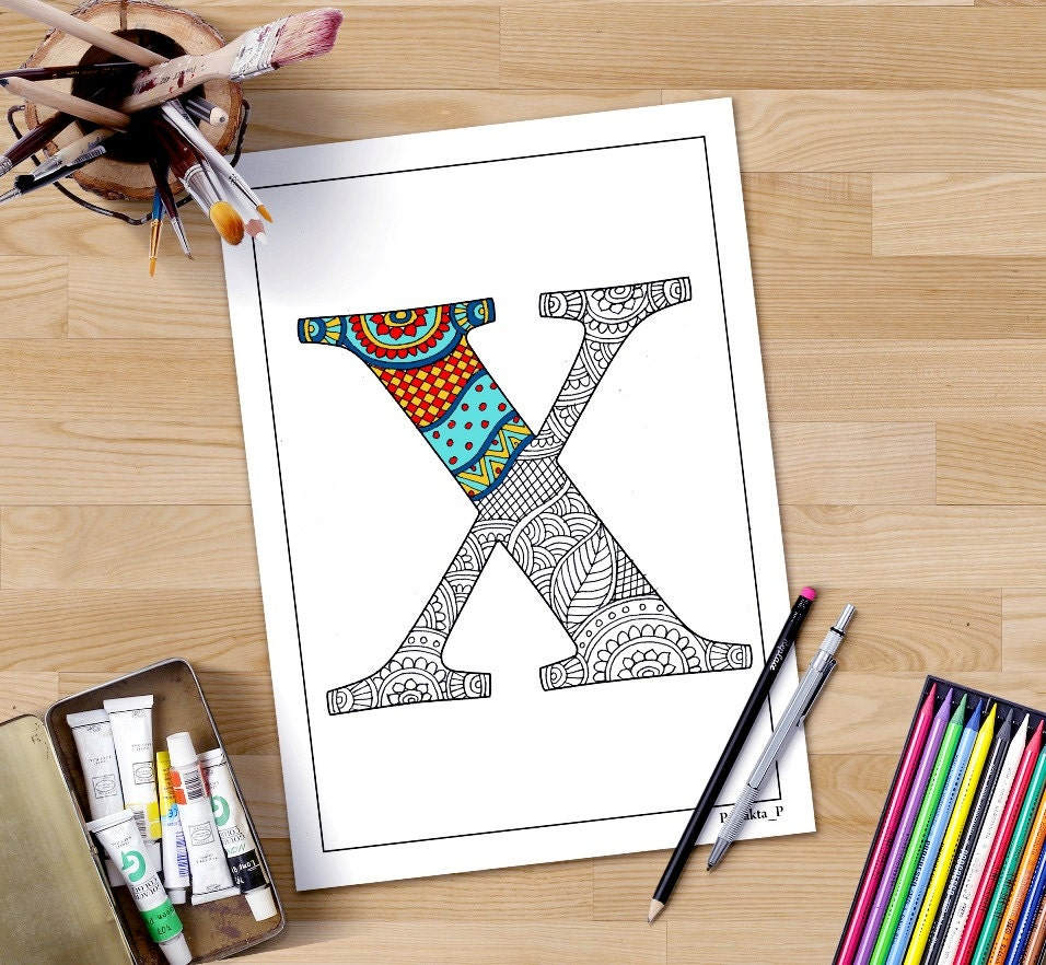 Zentangle Alphabet X Coloring Page For Adults