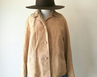 Vintage Lady California suede light tan leather jacket