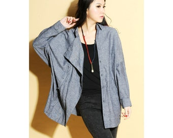 Free Style Asymmetrical Long Blouse With Handmade Buttons/ tunic/ ANY SIZE/ RAMIES