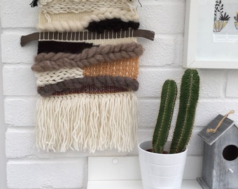 Natural neutral cream brown beige wool roving fibres chunky weaving woven wall hanging