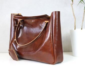 Leather Tote BELLA Cognac Brown Travel Bag Leather Tote Bag Tote Bag With Pockets Laptop Bag Custom Tote Bag Leather Laptop Bag Handbag