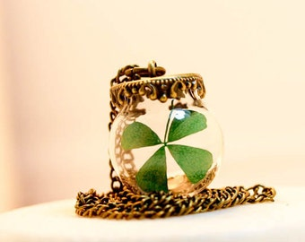 Real Four Leaf Clover, shamrock jewelry,  Lucky Charm, clover Necklace, Blown Pendant, Birthday Gift, Mother's Day