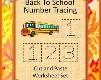 Teaching Materials, Instant Printable, Back to School, Home School, Back To School Number Tracing Cut and Paste Pre-K,K, Special Ed, Autism