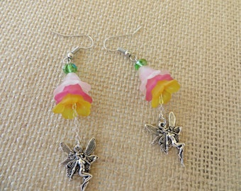 Dangling Lucite Flowers And Silver Fairies Earrings