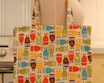 Book Bag Tote Purse - Colorful Owls
